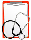 Stethoscope with clipboard illustration background Royalty Free Stock Photo