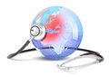 Stethoscope on europe glass globe with selected areas Stock Photos