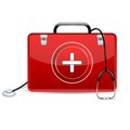 Stethoscope with First Aid Box Stock Photos