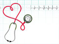 Stethoscope and heart beat back ground Stock Images