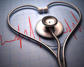 Stethoscope heart shape in of on a graph of the patient s heartbeat Stock Image