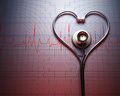Stethoscope heart shape in of on a graph of the patient s heartbeat Stock Photography