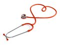 Stethoscope heart shaped on white background Royalty Free Stock Image