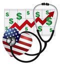 Stethoscope heart with us flag and chart medical device listening to usa heartbeat health cost rising on white background Royalty Free Stock Image