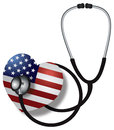 Stethoscope listening to heartbeat with usa flag medical device on white background illustration Royalty Free Stock Photo
