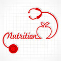 Stethoscope make nutrition word and apple illustration of Stock Photography