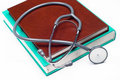 Stethoscope on a medical book Royalty Free Stock Images