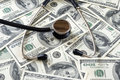 Stethoscope on money Royalty Free Stock Photo