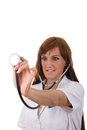 Stethoscope in nurse s hand practicing medicine Stock Image