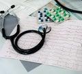 Stethoscope, pills and ECG Royalty Free Stock Photo