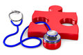 Stethoscope and puzzle on white background Royalty Free Stock Photography