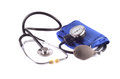 Stethoscope with tonometer isolated on white Stock Photos
