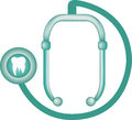 Stethoscope with tooth illustration of medical silhouette of dental health concept on white background Stock Image