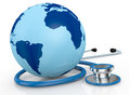 Stethoscope and world globe Stock Photo