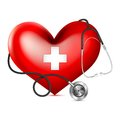 Stethoscope wrapping heart vector illustrationof Stock Photography