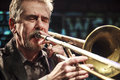 Steve swell during concert cracow poland november trombonist in kraków takes place as a part of krakow jazz autumn Royalty Free Stock Photos