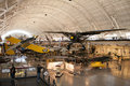 Steven f udvar hazy smithsonian national air and space museum annex an image of airplanes on display the Stock Photo
