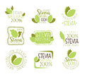 Stevia Natural Food Sweetener Additive And Sugar Substitute Set Of Green Color Logo Design Templates With Plant Leaves Royalty Free Stock Photo