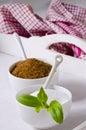 Stevia Powser and Brown Sugar. Natural Sweeteners. Royalty Free Stock Photo