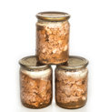 Stew canned stewed meat on white Royalty Free Stock Image