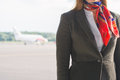 Stewardess on the airfield place for your text Royalty Free Stock Images