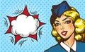 Stewardess airplane travel tourism pop art retro style.