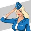 Stewardess in a blue dress blondie