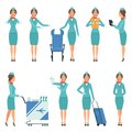 Stewardess characters. Various mascots in action poses. Airport and flight workers