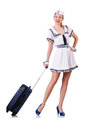 Stewardess met bagage op wit Stock Foto
