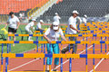 Stewards corrected barriers photo was taken during the junior team of ukrainian championship in athletics between countries Royalty Free Stock Images
