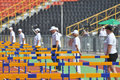 Stewards stand near barriers photo was taken during the junior team of ukrainian championship in athletics between countries Stock Images