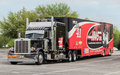 Stewart haas racing nascar hauler for stock car driver kurt busch Royalty Free Stock Image