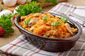 Stewed cabbage with mushrooms and tomato sauce Royalty Free Stock Photo