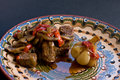 Stewed meat with mushrooms, sweet pepper and garlic Stock Photography