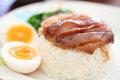 Stewed pork leg on rice Stock Images