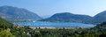 A stiched panorama shot of nidri town in lefkada greece Royalty Free Stock Photo