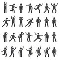 Stick characters. Posture icon action figures symbols human body silhouettes vector simple collection Royalty Free Stock Photo