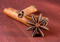 Stick of cinnamon with anise Royalty Free Stock Images