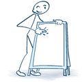 Stick figure with advertising stand Royalty Free Stock Photo