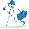 Stick figure as a craftsman an we will help you Royalty Free Stock Photo