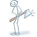 Stick figure with an ax behind his back Royalty Free Stock Image