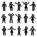Stick figure business man and woman standing front view different poses vector icon pictogram set