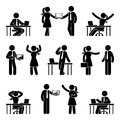 Stick figure business people icon set. Vector illustration of men and women at workplace isolated on white.