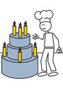Stick figure cake vector illustration of a boy with a big Stock Photography