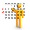 Stick Figure with Calendar Stock Photo