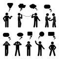 Stick figure dialog speech bubbles set. Talking, thinking, communicating body language man conversation icon pictogram.