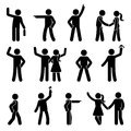 Stick figure different arms position set. Pointing finger, hands in pockets, waving person icon posture symbol sign pictogram.