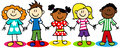 Stick figure ethnic diversity kids fun cartoon little boys and girls Royalty Free Stock Photos