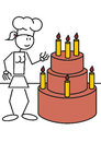 Stick figure female cake vector illustration of a girl with a big Royalty Free Stock Photo