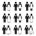 Stick figure just married groom and bride set